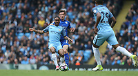 Manchester City's Raheem Sterling and Leicester City's Ben Chilwell<br /> <br /> Photographer Stephen White/CameraSport<br /> <br /> The Premier League - Manchester City v Leicester City - Saturday 13th May 2017 - Etihad Stadium - Manchester<br /> <br /> World Copyright &copy; 2017 CameraSport. All rights reserved. 43 Linden Ave. Countesthorpe. Leicester. England. LE8 5PG - Tel: +44 (0) 116 277 4147 - admin@camerasport.com - www.camerasport.com