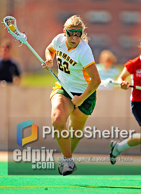 25 April 2009: University of Vermont Catamount attackman Sarah DeStefano, a Senior from Eliot, ME, in action against the Stony Brook University Seawolves at Moulton Winder Field in Burlington, Vermont. The Lady Cats defeated the visiting Seawolves 19-11 in Vermont's last home game of the 2009 season. Mandatory Photo Credit: Ed Wolfstein Photo