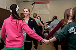 Madison Baimer faces Abigail Morgan as they line up to learn contradance in Morton Hall on Friday, February 13 during their mathematics for educators class.