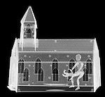 X-ray image of church abuse (white on black) by Jim Wehtje, specialist in x-ray art and design images.