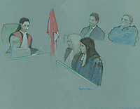 FILE IMAGE -  Nikolas Stefanatos attend his sentence hearing at Longueuil Justice Hall, December 3rd, 2014.<br />  <br /> Nikolas Stefanatos,  who sprayed acid on his ex-girlfriend, Tanya St-Arnauld, has pleaded guilty to aggravated assault.<br /> <br /> Drawing : Agence Quebec Presse - Atalante