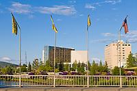 The bridge in downtown Fairbanks overlooks the Chena River and the Golden Heart Plaza, Fairbanks, Alaska.