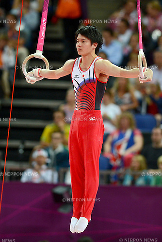 Yusuke Tanaka (JPN), .JULY 30, 2012 - Artistic Gymnastics : .Men's Qualification Rings at North Greenwich Arena .during the London 2012 Olympic Games in London, UK. . (Photo by Enrico Calderoni/AFLO SPORT).