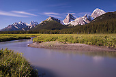 View over mountain range from Engerdine Lodge grounds, Spray Valley Provincial Park, Alberta, Canada