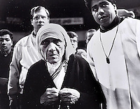 Mother Teresa on a visit to the Tijuana Auditorium.  1997