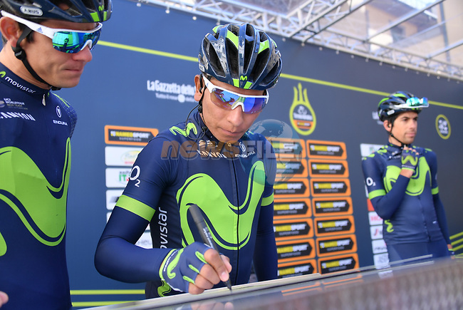 Nairo Quintana (COL) and his Movistar Team mates at sign on before the start of stage 2 of the 2017 Tirreno Adriatico running 229km from Camaiore to Pomarance, Italy. 9th March 2017.<br /> Picture: La Presse/Gian Mattia D'Alberto | Cyclefile<br /> <br /> <br /> All photos usage must carry mandatory copyright credit (&copy; Cyclefile | La Presse)