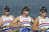 Brest, Belarus. GBR M4- Bow, Left to Right,  Matthew ROSSITER, George NASH and Constantine LOULOUDIS, competing in Sat's Semi Final at the 2010. FISA U23 Championships. Saturday,  24/07/2010.  [Mandatory Credit Peter Spurrier/ Intersport Images]