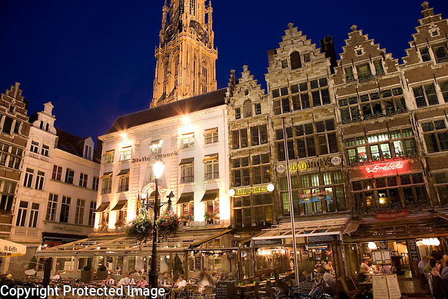 Grote Markt - Main Square with the Onze Lieve Vrouwekathedraal - Cathedral of Our Lady behind; Antwerp; Belgium; Europe