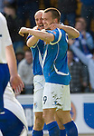 St Johnstone v Morton....02.05.09.Steven Milne celebrates his second goal with Paul Sheerin.Picture by Graeme Hart..Copyright Perthshire Picture Agency.Tel: 01738 623350  Mobile: 07990 594431