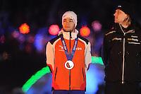 SCHAATSEN: AMSTERDAM: Olympisch Stadion, 28-02-2014, KPN NK Sprint/Allround, Coolste Baan van Nederland, Huldiging Olympische medaillewinnaars, Sjinkie Knegt, Ronald Mulder, ©foto Martin de Jong