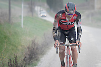 Jempy Drucker (LUX/BMC) got back up after a serious crash at km40 injuring his right hand and forearm<br /> <br /> 11th Strade Bianche 2017