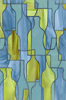 Bottles, a glass waterjet shown in Peridot, Serpentine and Mica, is part of the Erin Adams Collection for New Ravenna Mosaics.