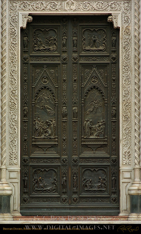 Detail of Bronze Doors Right Portal 19th c Facade Santa Maria del Fiore Florence