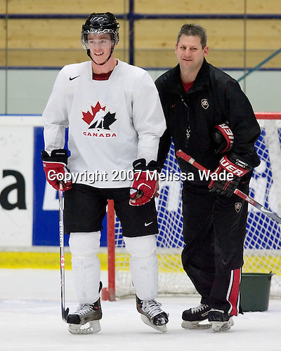 Jonathan Toews (Winnipeg, MB - University of North Dakota Fighting Sioux) and Curtis Hunt (Regina Pats) took part in Team Canada's morning skate on Friday, January 5, 2007 prior to meeting Russia in the 2007 World Championship gold medal game at Ejendals Arena in Leksand, Sweden.