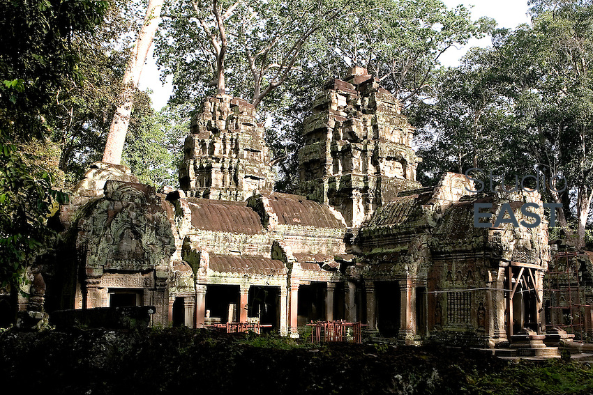 Trees and roots invade Ta Prohm temple, in Ankgor, Cambodia, on October 4, 2009. Ta Prohm is a temple built in the Bayon style largely in the late 12th and early 13th centuries and originally called Rajavihara. It was founded by the Khmer King Jayavarman VII as a Mahayana Buddhist monastery and university. Unlike most Angkorian temples, Ta Prohm has been left in much the same condition in which it was found with its photogenic and atmospheric combination of trees growing out of the ruins and the jungle surroundings. Angkor used to be the seat of the Khmer empire, which flourished from approximately the ninth century to the thirteenth century. The ruins of Angkor temples are a UNESCO World Heritage Site. Photo by Lucas Schifres/Pictobank