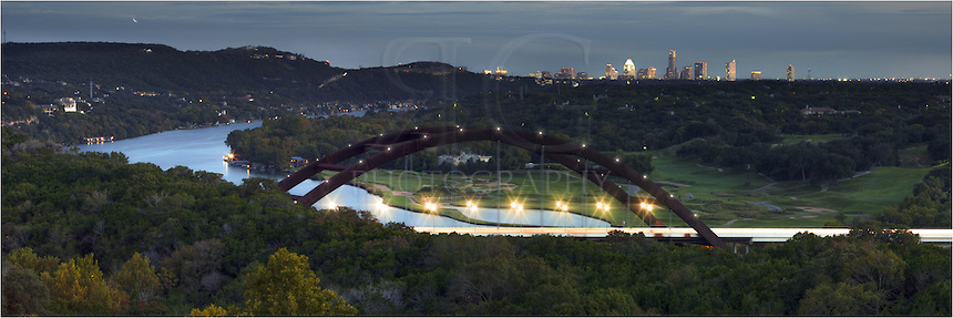 "What if.... the Pennybacker Bridge had lights? As a student at the University of Texas many years ago, I fondly remember ""day trips"" out to the 360 Bridge and sitting on the overlook that surveys the river and downtown Austin. I also wondered what the bridge woudl look like if it had lights. So here is my version! Someday, maybe?"