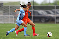 Piscataway, NJ - Saturday May 20, 2017: Taylor Lytle, Poliana during a regular season National Women's Soccer League (NWSL) match between Sky Blue FC and the Houston Dash at Yurcak Field.  Sky Blue defeated Houston, 2-1.