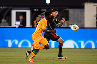 Mexico forward Raul Jimenez (9). Mexico defeated the Ivory Coast 4-1 during an international friendly at MetLife Stadium in East Rutherford, NJ, on August 14, 2013.