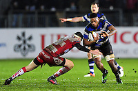Levi Douglas of Bath Rugby takes on the Gloucester Rugby defence. Anglo-Welsh Cup match, between Bath Rugby and Gloucester Rugby on January 27, 2017 at the Recreation Ground in Bath, England. Photo by: Patrick Khachfe / Onside Images