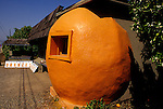 Orange fruit stand along highway