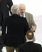 Jerry York (BC - Head Coach), Jack Parker (BU - Head Coach) - The visiting Boston College Eagles defeated the Boston University Terriers 3-2 to sweep their Hockey East series on Friday, January 21, 2011, at Agganis Arena in Boston, Massachusetts.