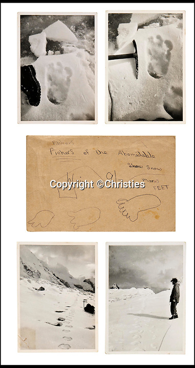 BNPS.co.uk (01202 558833)<br /> Pic: Christies/BNPS<br /> <br /> The pictures for sale and the envelope with drawing on.<br /> <br /> The first photographs showing what is believed to be the famous 'Yeti' have emerged for sale.<br /> <br /> British explorer Eric Earle Shipton took the historical pictures in 1951 when he was trekking at 19,000ft in the Himalayas.<br /> <br /> He spotted the mysterious 13-inch footprint in the snow and his iconic photograph caused a global stir, which has divided explorers and historians for decades.