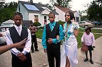 Teenagers living in a low income neighbourhood in Detroit, Michigan getting ready to celebrate prom night.