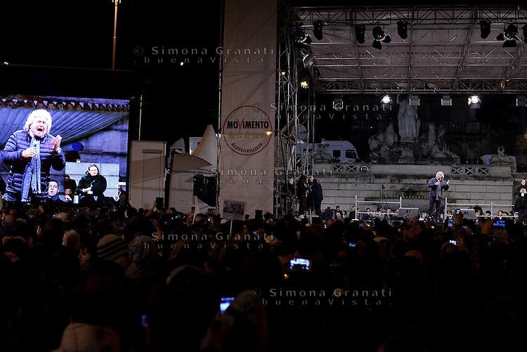 Roma, 24 Gennaio 2015<br /> Piazza del Popolo.<br /> La notte dell'onest&agrave;, manifestazione organizzata dal Movimento 5 stelle contro la curruzione e le mafie.<br /> Beppe Grillo
