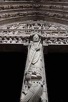 Portal of Saint Anne (detail), Notre Dame de Paris, 1163 ? 1345, initiated by the bishop Maurice de Sully, Ile de la Cité, Paris, France. Picture by Manuel Cohen