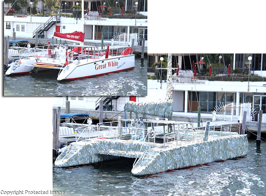 The Humongous Tinfoil Catamaran. Original boat and mockup of wrap.