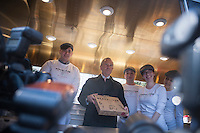 New York Mayor Michael Bloomberg, center, at the debut of the Neapolitan Express pizza food truck at City Hall Park in New York on Thursday, February 21, 2013. The truck is the first to run 100 percent on compressed natural gas, both preparation and engine operation, in a partnership with Clean Energy Fuels. The debut of the truck was hosted by New York Mayor Michael Bloomberg and energy executive T. Boone Pickens. (© Richard B. Levine)