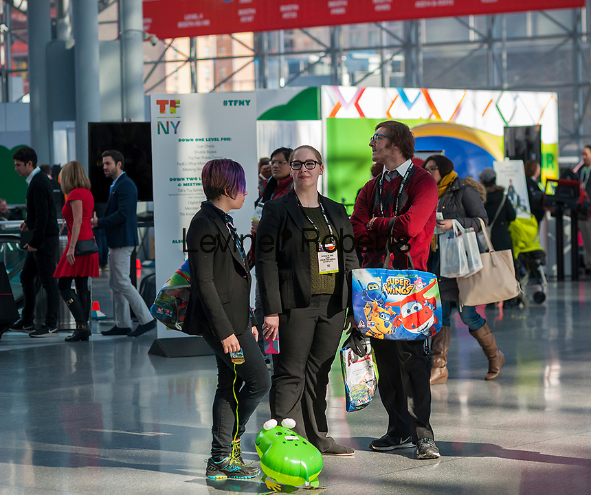 Exhibitors and buyers at the 113th North American International Toy Fair in the Jacob Javits Convention center in New York on Sunday, February 14, 2016.  The four day trade show with over 1000 exhibitors connects buyers and sellers and draws tens of thousands of attendees.  The toy industry generates over $84 billion worldwide and Toy Fair is the largest toy trade show in the Western Hemisphere. (© Richard B. Levine)