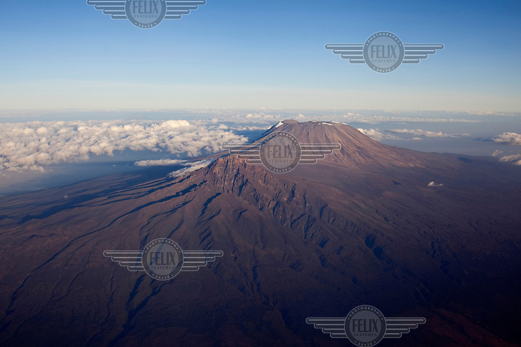 An aerial view of Mount Kilimanjaro.