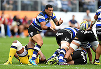 Kahn Fotuali'i of Bath Rugby passes the ball. Aviva Premiership match, between Bath Rugby and Worcester Warriors on September 17, 2016 at the Recreation Ground in Bath, England. Photo by: Joseph Meredith / JMP for Onside Images