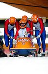 20 November 2005: Arend Glas leads the Netherlands 1 sled pushoff in the first run of the 2005 FIBT AIT World Cup Men's 4-Man Bobsleigh Tour, piloting the team to a 17th place finish at the Verizon Sports Complex, in Lake Placid, NY. Mandatory Photo Credit: Ed Wolfstein.