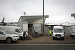 St Mirren 4 The New Saints 1, 19/02/2017. Paisley 2021 Stadium, Scottish Challenge Cup. Television broadcast vans parked outside the Paisley2021 Stadium, pictured before Scottish Championship side St Mirren played Welsh champions The New Saints in the semi-final of the Scottish Challenge Cup for the right to meet Dundee United in the final. The competition was expanded for the 2016-17 season to include four clubs from Wales and Northern Ireland as well as Scottish Premier under-20 teams. Despite trailing at half-time, St Mirren won the match 4-1 watched by a crowd of 2044, including 75 away fans. Photo by Colin McPherson.