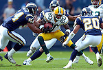 ...Green Bay's Donald Driver runs for 9-yards on a 3rd and 18-yard play in the 1st quarter. .The Green Bay Packers traveled to Qualcomm Stadium in San Diego, CA to play the San Diego Chargers Sunday December 14, 2003. WSJ/Steve Apps.