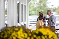 Vice President Joe Biden, right, greets owners George and Mary Ann Schmidt during an unannounced stop at Schmidt's Farmer's Market during a two-day campaign swing through Iowa on Monday, September 17, 2012 in Muscatine, IA.