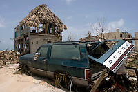 Quintana Roo, Mexico. Thursday, August 23, 2007.  The town of Mahahual was where category 5 Hurricane Dean first made landfall in Mexico, with winds of 300km/h it was where most of the damage was suffered.