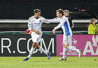 San Jose Earthquakes midfielder Chris Wondolowski celebrates with teammate Bobby Convey his second goal of the night in the 55th minute of the game.  San Jose Earthquakes defeated DC United 2-0 at RFK Stadium, October 9, 2010.