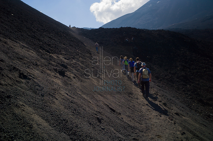 Tourists at Volcán Pacaya, Escuintla, Guatemala in March 2012.