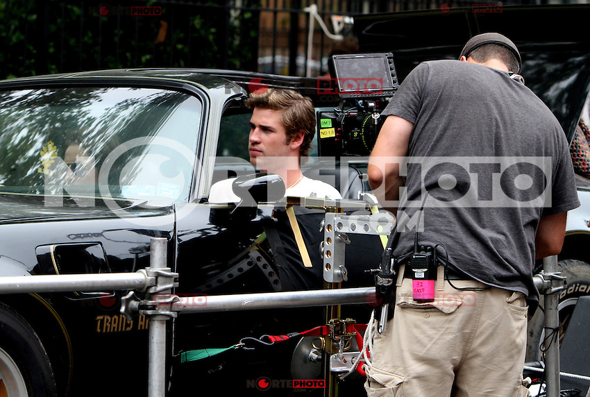 July 07, 2012: Liam Hemsworth on the set of the new film, Empire State'. Queens, New York. &copy; RW/MediaPunch Inc. /*NORTEPHOTO*<br />
