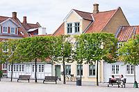 Street scene in the old town in Odense on Funen Island, Denmark