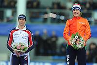 SPEED SKATING: STAVANGER: Sørmarka Arena, 31-01-2016, ISU World Cup, Podium combined ranking 500-1000m Ladies, Brittany Bowe (USA), Mirjam Steunebrink (on behalf of Jorien ter Mors), ©photo Martin de Jong