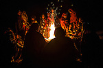 Meghwal women gathered around a fire, Gujarat, India