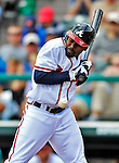 6 March 2012: Atlanta Braves outfielder Michael Bourn is brushed back by an inside pitch during a Spring Training game against the Washington Nationals at Champion Park in Disney's Wide World of Sports Complex, Orlando, Florida. The Nationals defeated the Braves 5-2 in Grapefruit League action. Mandatory Credit: Ed Wolfstein Photo