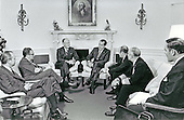 Washington, D.C. - January 18, 1971 -- United States President Richard M. Nixon meets with his Defense and National Security teams in the Oval Office in the White House in Washington, D.C. on January 18, 1971.  Pictured from left to right: unidentified; Doctor Henry A. Kissinger, Assistant to the President for National Security Affairs; United States Secretary of State William P. Rogers; President Nixon; United States Secretary of Defense Melvin Laird; unidentified; and Brigadier General Alexander M. Haig, Jr., United States Army..Credit: White House via CNP
