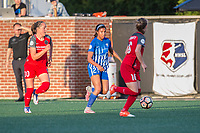 Boston, MA - Friday May 19, 2017: Celeste Boureille and Margaret Purce during a regular season National Women's Soccer League (NWSL) match between the Boston Breakers and the Portland Thorns FC at Jordan Field.