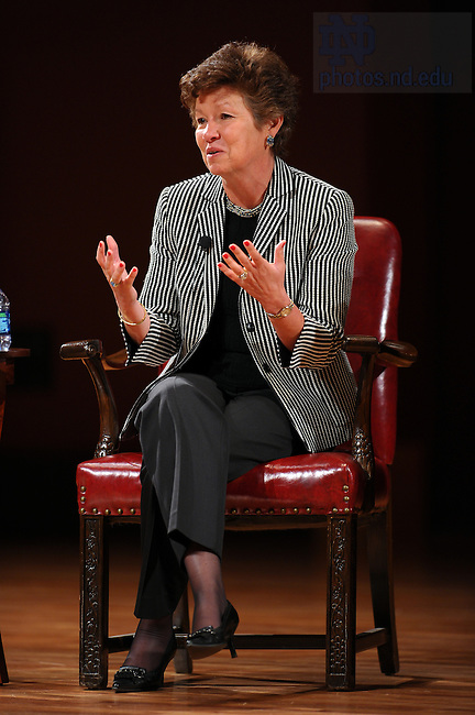 "Apr. 13, 2011; Sara Martinez Tucker, former Undersecretary of Education, participates in the panel discussion ""The System: Opportunity, Crisis, and Obligation in K-12 Education"" at the Leighton Concert Hall at the Debartolo Performing Arts Center...Photo by Matt Cashore/University of Notre Dame"