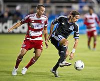 SANTA CLARA, CA - July 18, 2012: San Jose Earthquakes vs  FC Dallas match at the Buck Shaw Stadium in Santa Clara, California. Final score San Jose Earthquakes 2, FC Dallas 1.